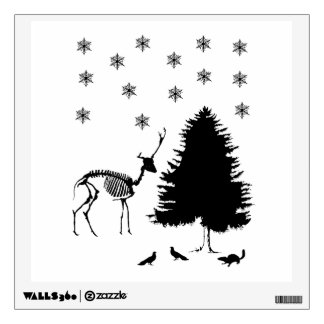 Deer Tree Snow Pigeons Chipmunk Wall Sticker