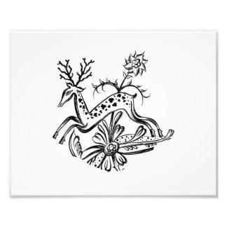 Deer vintage jumping flowers jagged image.png photo print