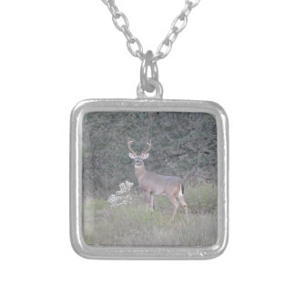 Deer walking on the ranch silver plated necklace