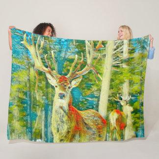 Deer Watercolor Wildlife Nature Art Fleece Blanket