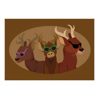 Deer Wearing Sunglasses Poster