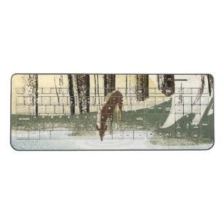 Deer Wildlife Animal Forest Pool Wireless Keyboard