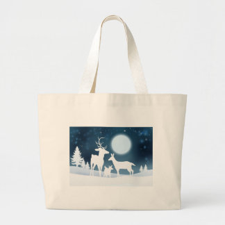 Deer Winter Scene Background Large Tote Bag