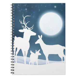 Deer Winter Scene Background Spiral Notebooks