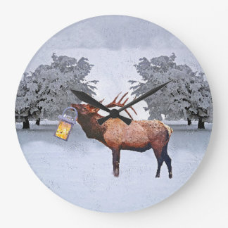 Deer With A Lantern Large Clock