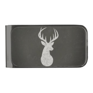 Deer With Antlers Chalk Drawing Gunmetal Finish Money Clip