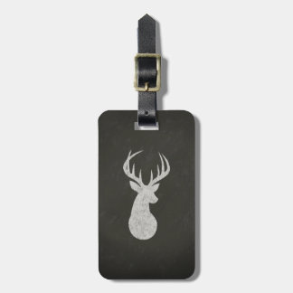 Deer With Antlers Chalk Drawing Luggage Tag