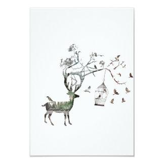 "Deer with Birds 3.5"" X 5"" Invitation Card"