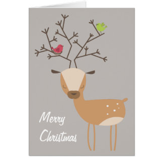 Deer with Birds Card