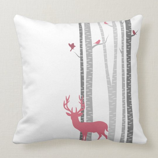 Deer with Birds Throw Pillow