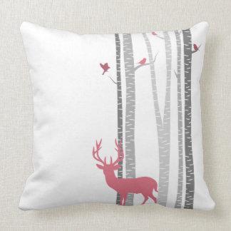Deer with Birds Throw Pillow