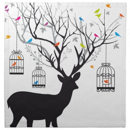 Deer with colorful birds and birdcages napkins
