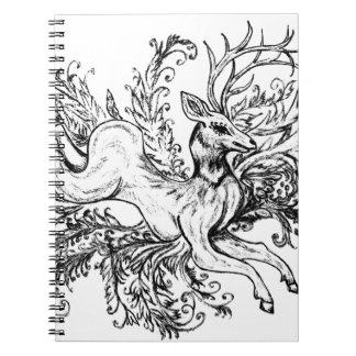 Deer with Floral Spiral Notebook