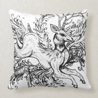 Deer with Floral Throw Pillow