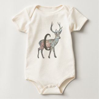 Deer with Letter C Baby Bodysuit