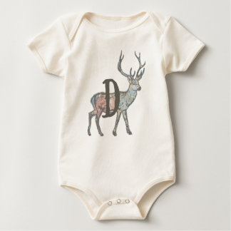 Deer with Letter D Baby Bodysuit