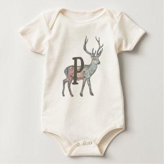Deer with Letter P Baby Bodysuit