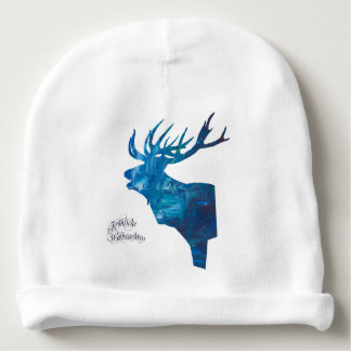 Deer with merry Christmas Baby Beanie