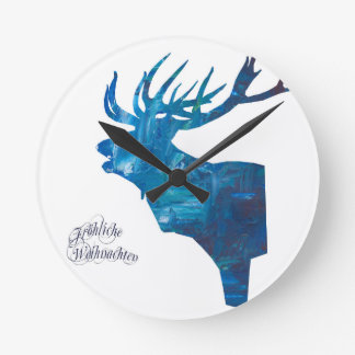 Deer with merry Christmas Round Clock