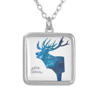 Deer with merry Christmas Silver Plated Necklace