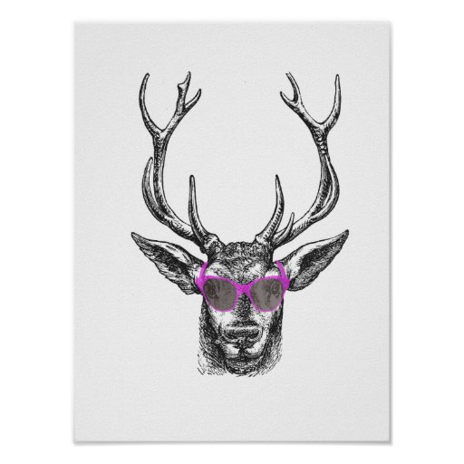 Deer with Pink Sunglasses Poster