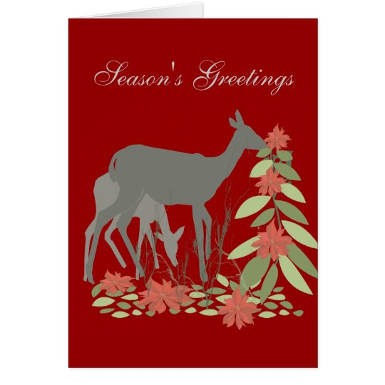 Deer with Poinsettia Tree Card