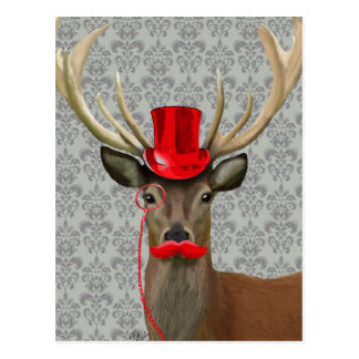 Deer With Red Hat and Moustache Postcard
