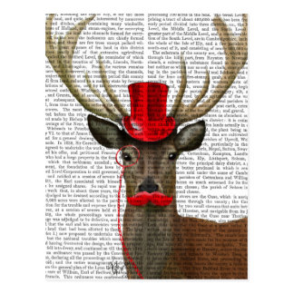 Deer with Red Top Hat and Moustache Postcard