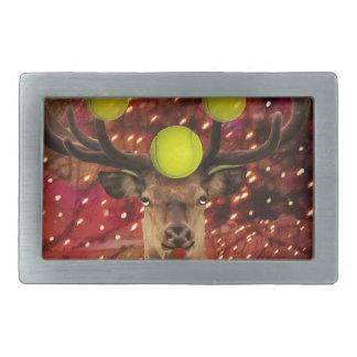Deer with tennis balls in a shining forest . rectangular belt buckles