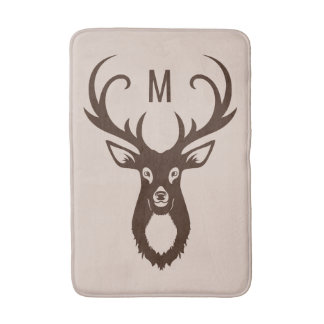 Deer with Your Monogram bath mats