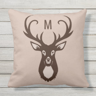 Deer with Your Monogram throw pillows