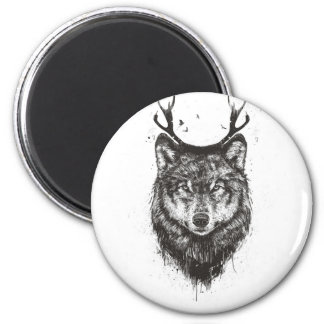 Deer wolf (black and white) 2 inch round magnet
