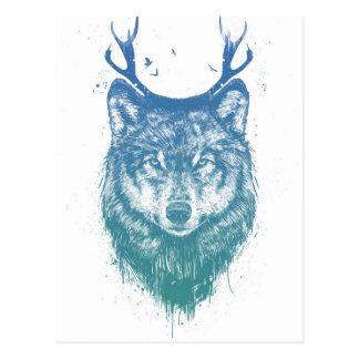Deer wolf postcard
