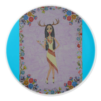 Deer Woman Ceramic Knob
