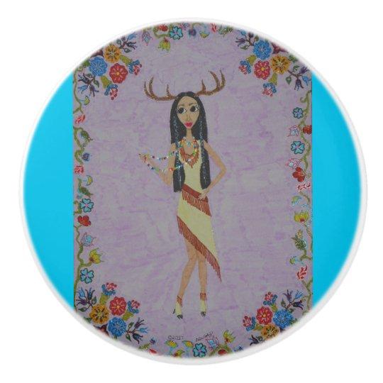 Deer Woman Ceramic Knob