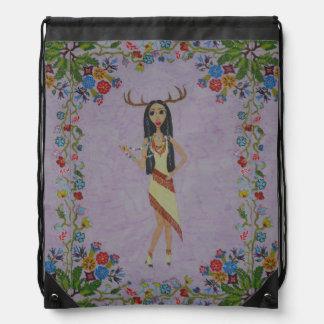Deer Woman (Fairy Tale Fashion Series #5) Drawstring Bag