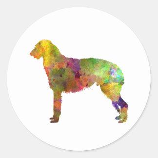 Deerhound 01 in watercolor-2 round sticker