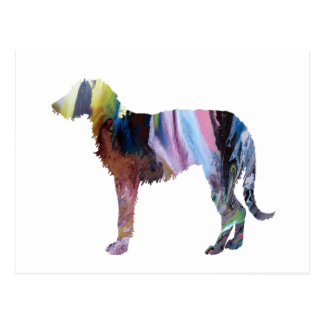 Deerhound art postcard