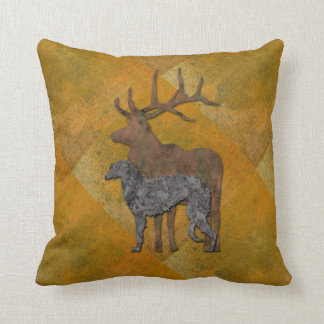 Deerhound & deer throw pillow