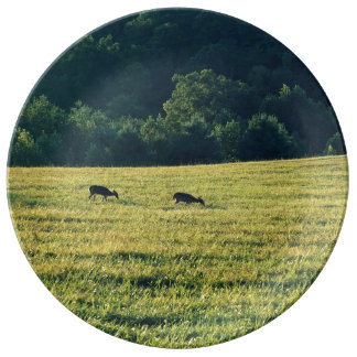 Deers Grazing Plate