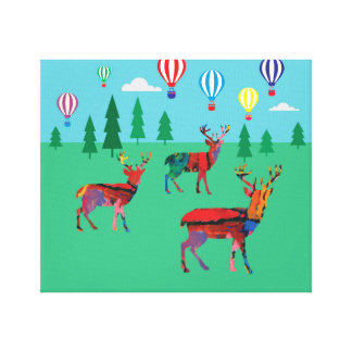 Deers & Hot Air Balloons Canvas Print