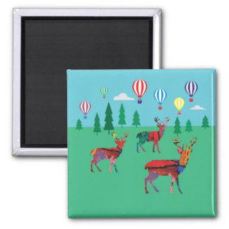 Deers & Hot Air Balloons Magnet