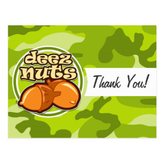 Deez Nuts; bright green camo, camouflage Postcard