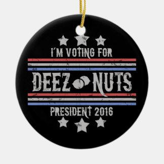 Deez Nuts III Round Ceramic Ornament