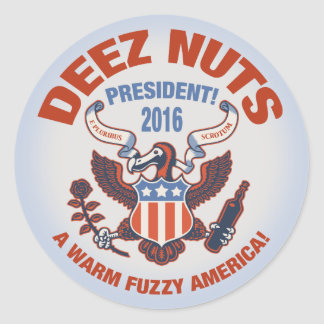 Deez Nuts Warm Fuzzy Classic Round Sticker