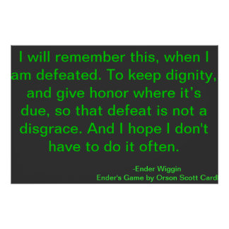Defeat Motivational Quote Orson Scott Card Poster
