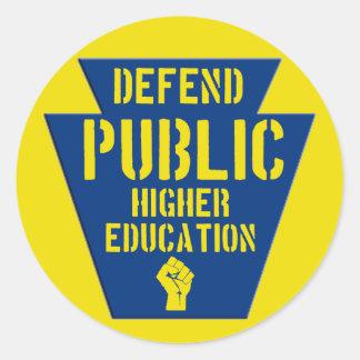 Defend Public Higher Ed in PA Round Sticker