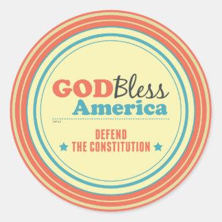 Defend The Constitution Round Sticker