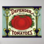 Defender Tomatoes, Vintage Fruit Crate Label Art Posters