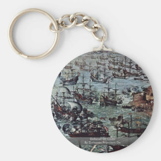 Defense Of Cádiz  By Zurbarán Francisco De Basic Round Button Keychain